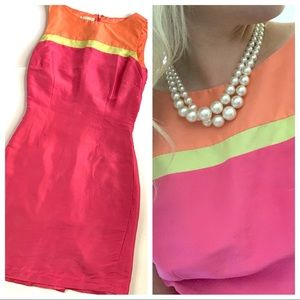 Talbots Bright Pink Orange Green Color Block Dress